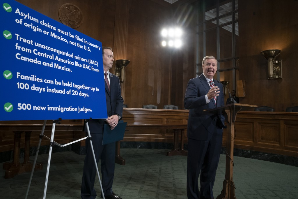 Senate Judiciary Committee Chairman Lindsey Graham, R-S.C., an ally of President Donald Trump, is joined by Acting U.S. Customs and Border Protection ...