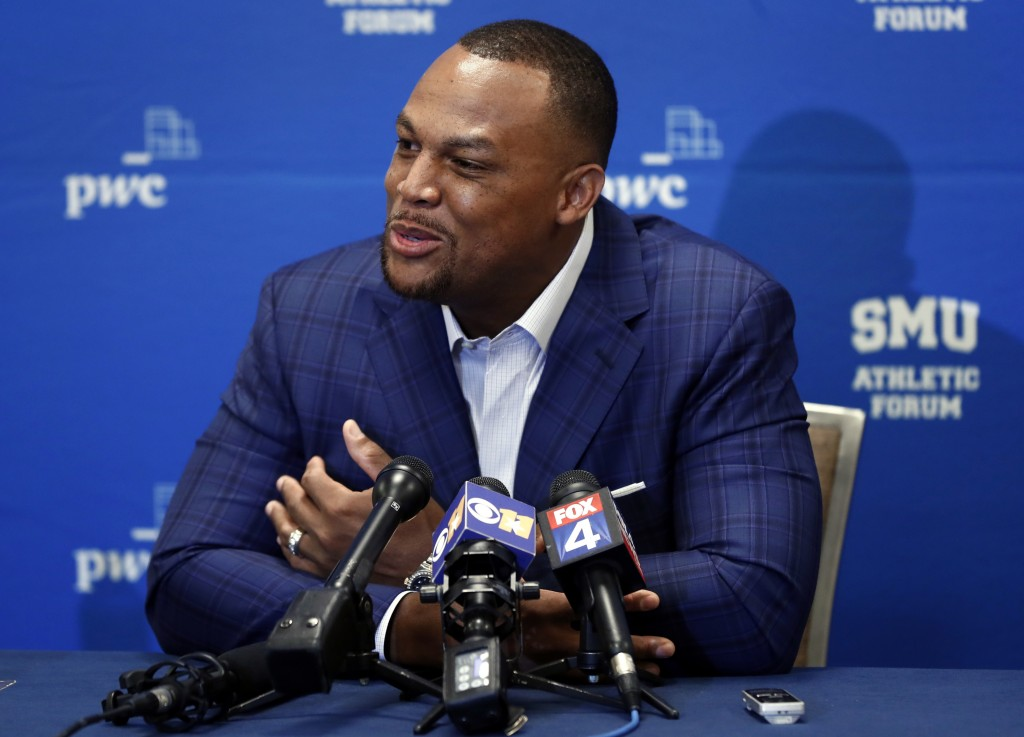 Retired MLB baseball player Adrian Beltre responds to questions at a news conference during the SMU Athletic Forum in Dallas, Wednesday, May 15, 2019.