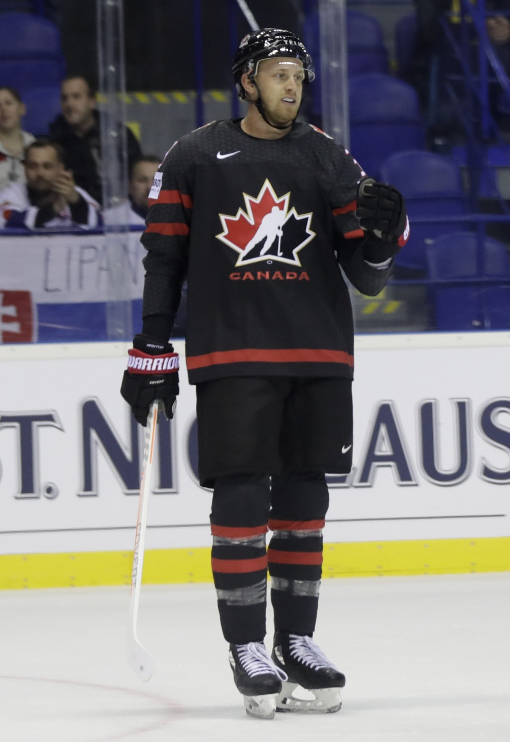 Canada's Anthony Mantha celebrates after scoring his sides first goal during the Ice Hockey World Championships group A match between Canada and Franc...