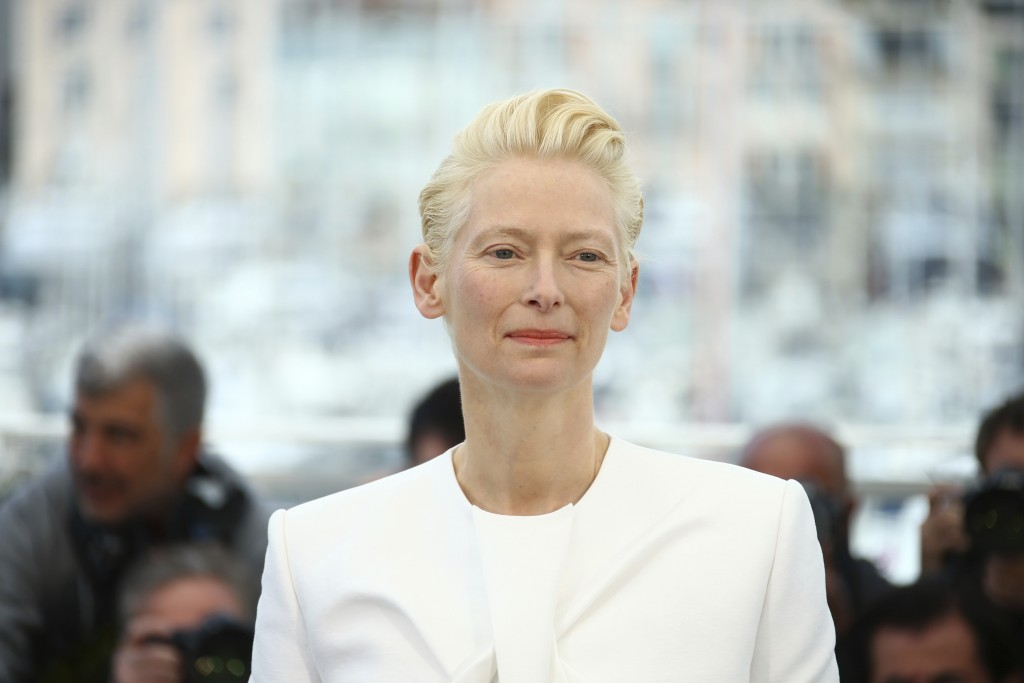 Actress Tilda Swinton poses for photographers at the photo call for the film 'The Dead Don't Die' at the 72nd international film festival, Cannes, sou...