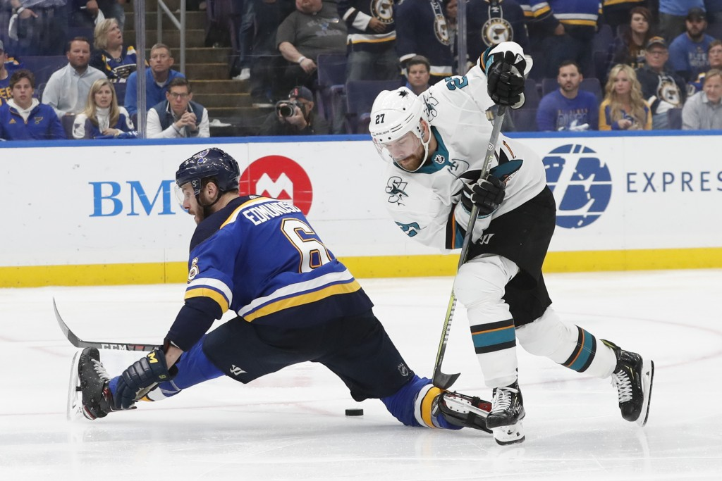 San Jose Sharks right wing Joonas Donskoi (27), of Finland, moves the puck past St. Louis Blues defenseman Joel Edmundson (6) during overtime in Game