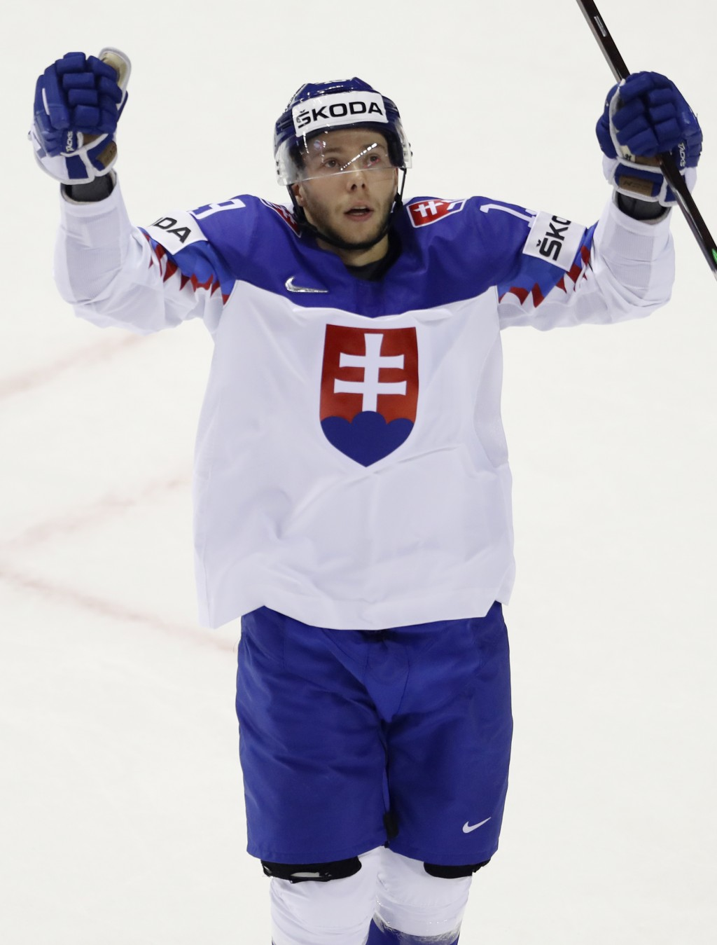 Slovakia's Matus Sukel celebrates after scoring his sides second goal during the Ice Hockey World Championships group A match between France and Slova