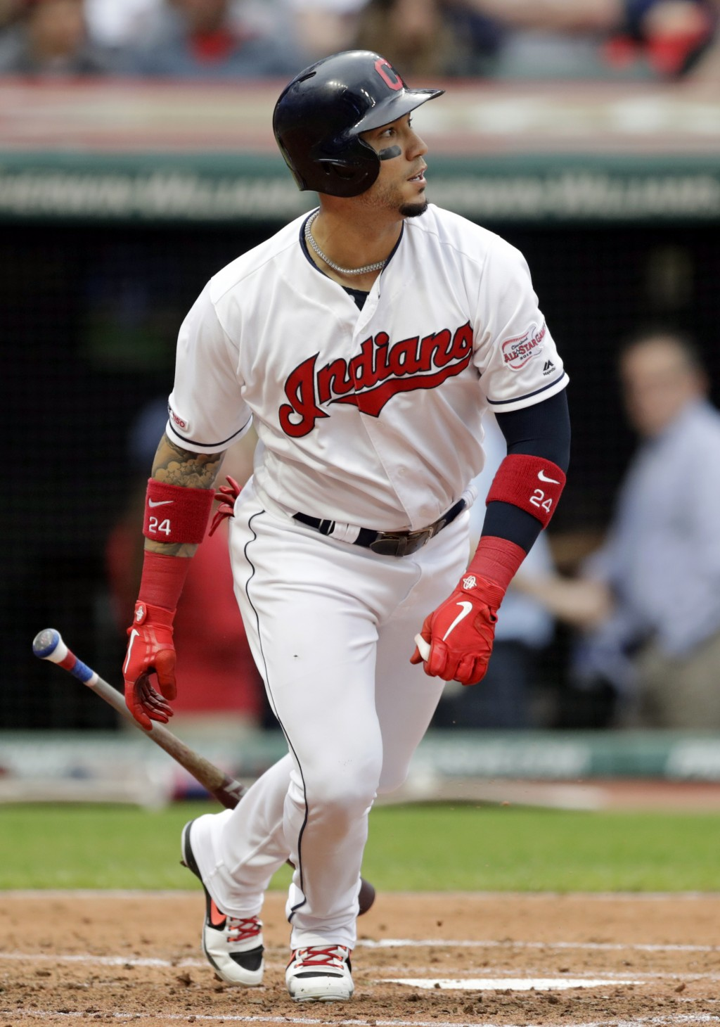 Cleveland Indians' Carlos Gonzalez hits an RBI-single off Baltimore Orioles starting pitcher Dan Straily in the third inning of a baseball game, Thurs