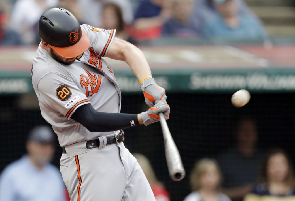 Baltimore Orioles' Trey Mancini hits a three-run home run off Cleveland Indians starting pitcher Trevor Bauer in the third inning of a baseball game,