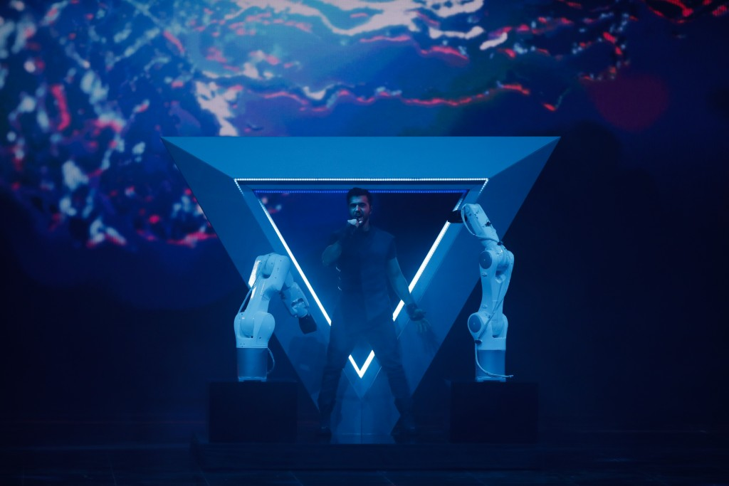 Chingiz of Azerbaijan performs during the 2019 Eurovision Song Contest second semi-final in Tel Aviv, Israel, Thursday, May 16, 2019. (AP Photo/Sebast