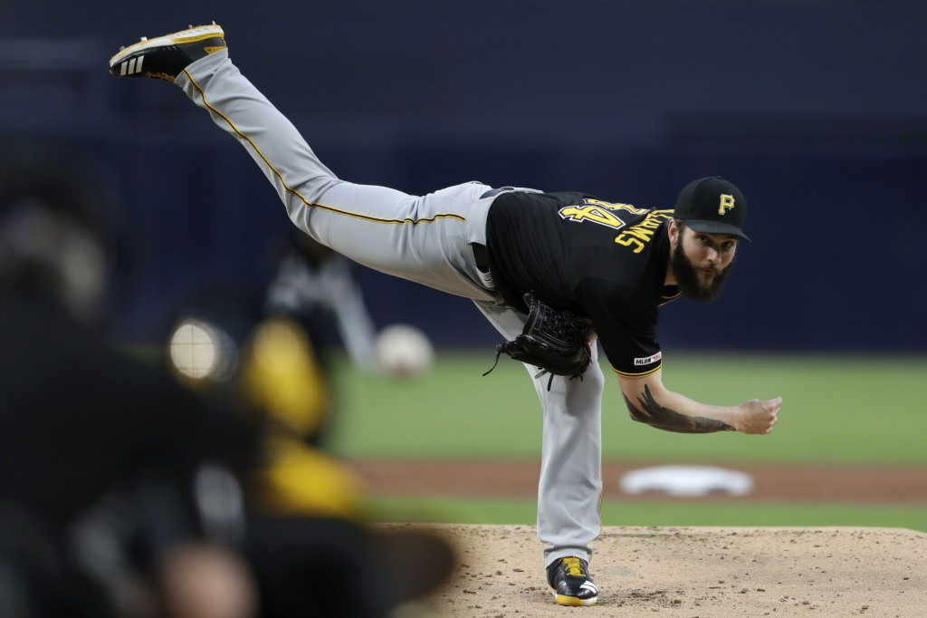 Pittsburgh Pirates starting pitcher Trevor Williams works against a San Diego Padres batter during the first inning of a baseball game Thursday, May 1