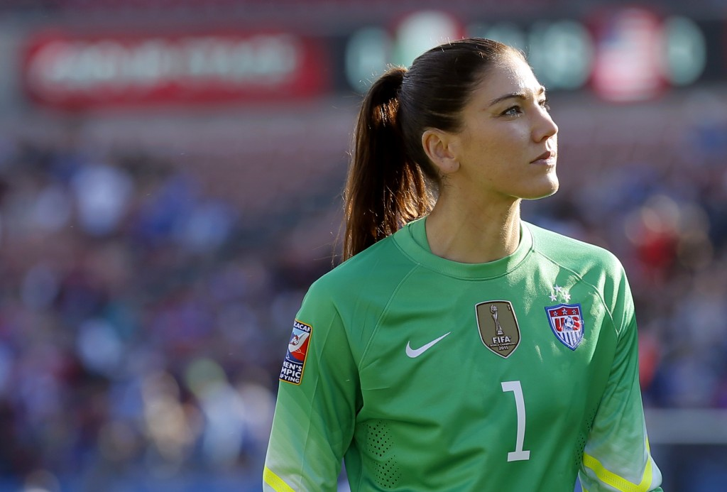 FILE - In this Feb. 13, 2016, file photo, United States goalie Hope Solo walks off the field at half time of a CONCACAF Olympic qualifying tournament