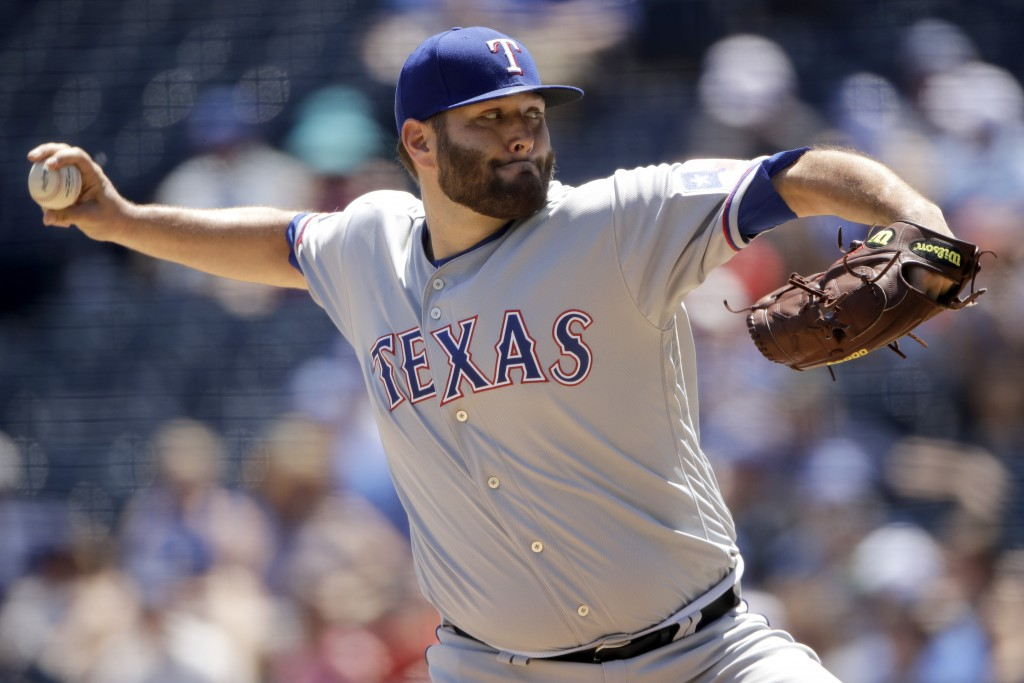 Texas Rangers starting pitcher Lance Lynn throws during the first inning of a baseball game against the Kansas City Royals, Thursday, May 16, 2019, in