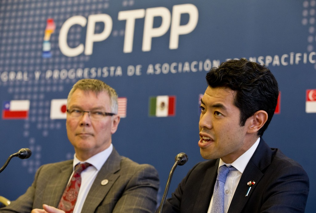 Kiyoto Tsuji, Parliamentary Vice-Minister of Foreign Affairs of Japan, talks next to David Parker, Minister for Trade and Export Growth of New Zealand...