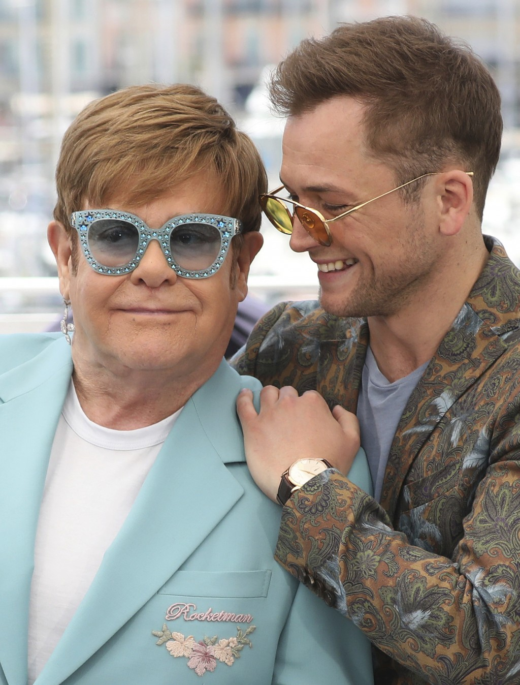 Actor Taron Egerton, right, and singer Elton John pose for photographers at the photo call for the film 'Rocketman' at the 72nd international film fes