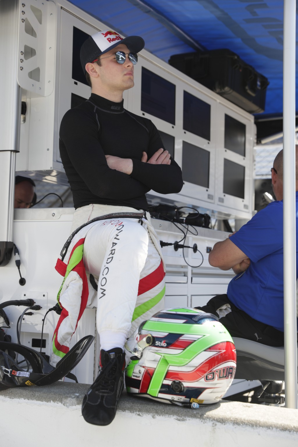 Patricio O'Ward, of Mexico, waits for the start of practice for the Indianapolis 500 IndyCar auto race at Indianapolis Motor Speedway, Thursday, May 1