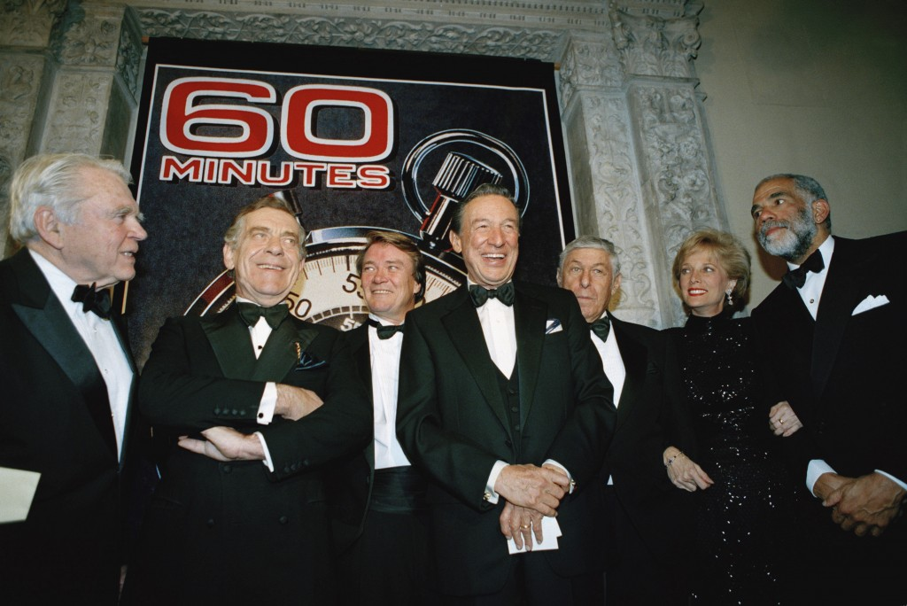 "FILE - In this Nov. 10, 1993 file photo, The ""60 Minutes"" team, from left, Andy Rooney, Morley Safer, Steve Kroft, Mike Wallace, executive producer Do"