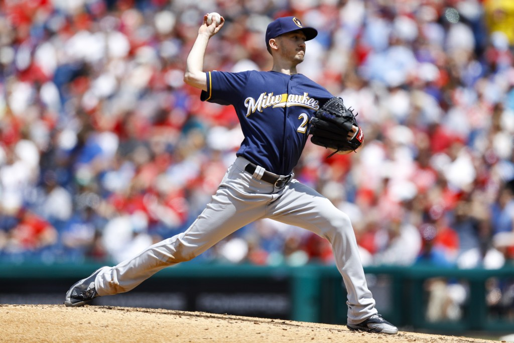 Milwaukee Brewers' Zach Davies pitches during the third inning of a baseball game against the Philadelphia Phillies, Thursday, May 16, 2019, in Philad