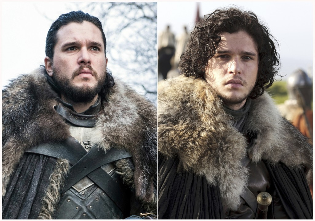 "This combination photo of images released by HBO show Kit Harington portraying Jon Snow in ""Game of Thrones."" The final episode of the popular series"