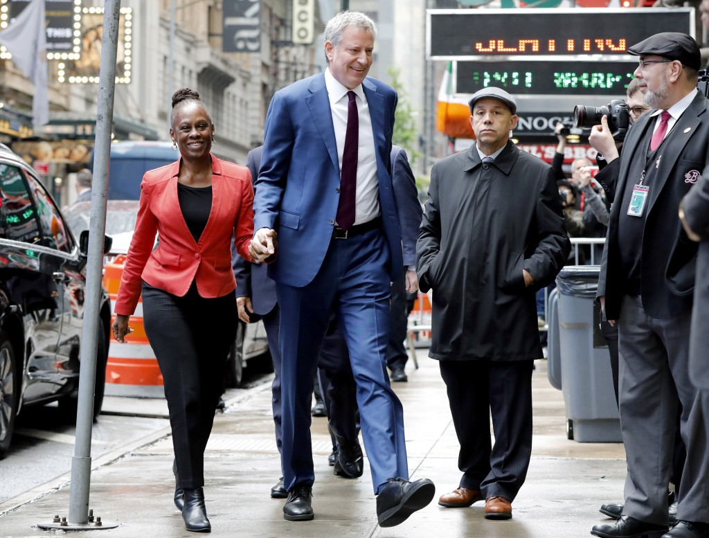 "New York Mayor Bill de Blasio and his wife Chirlane McCray arrive at ""Good Morning America"" in New York, Thursday, May 16, 2019. De Blasio announced T"