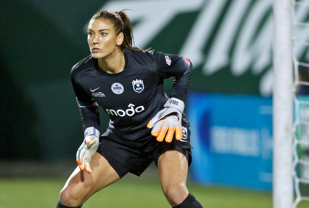 FILE - In this Oct. 1, 2015, file photo, Seattle Reign FC goalkeeper Hope Solo follows the action during the second half of the NWSL soccer championsh...