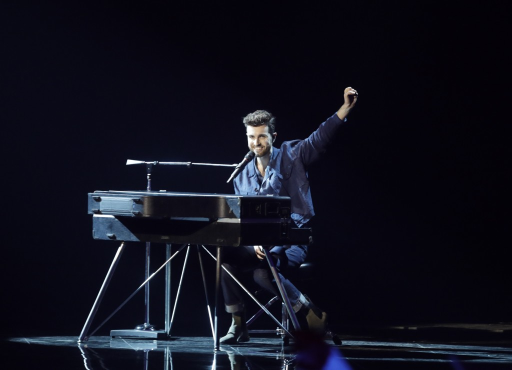 Duncan Laurence of the Netherlands performs during the 2019 Eurovision Song Contest second semi-final in Tel Aviv, Israel, Thursday, May 16, 2019. (AP