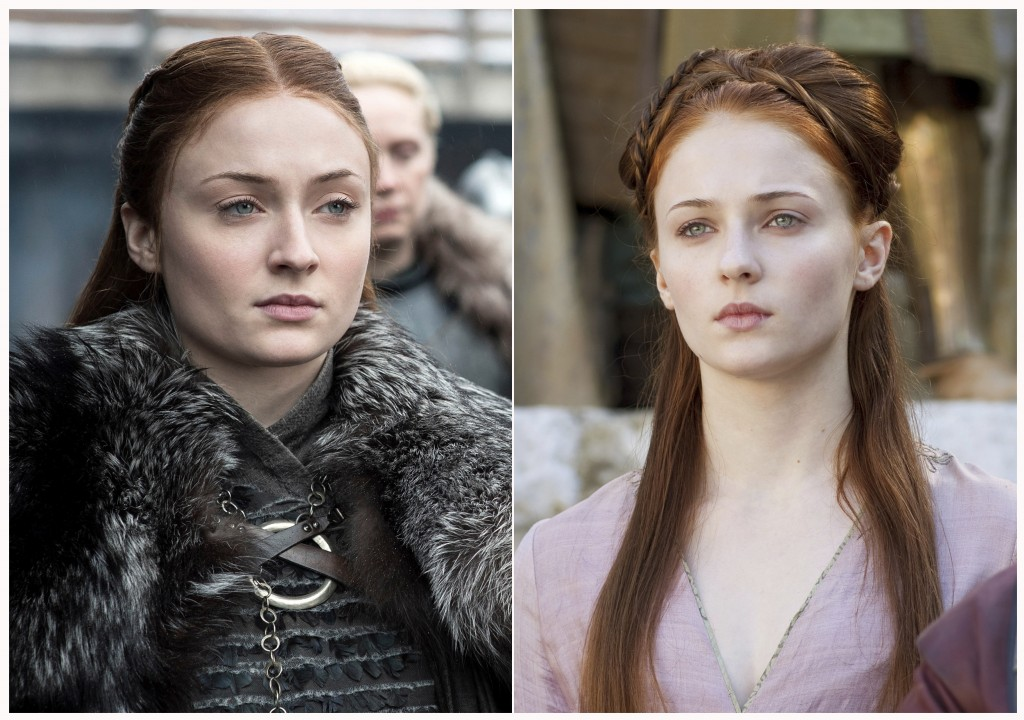 "This combination photo of images released by HBO shows Sophie Turner portraying Sansa Stark in ""Game of Thrones."" The final episode of the popular ser"