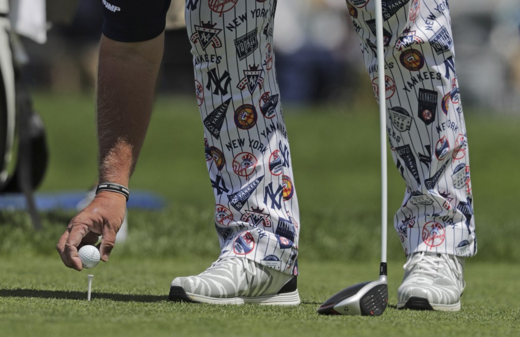 John Daly prepares to tee off on the 12th hole during the first round of the PGA Championship golf tournament, Thursday, May 16, 2019, at Bethpage Bla