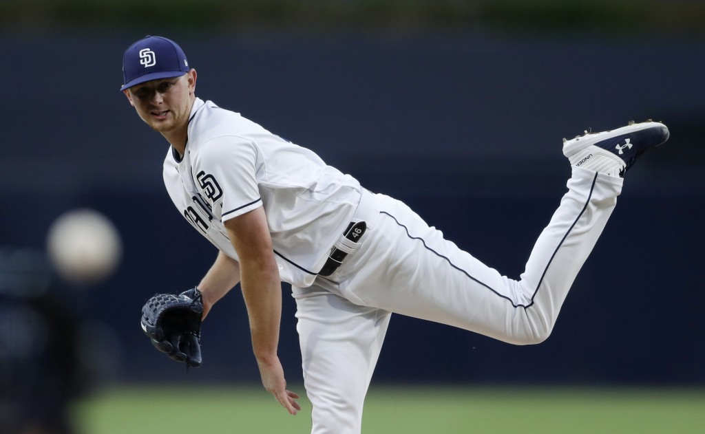 San Diego Padres starting pitcher Eric Lauer works against a Pittsburgh Pirates batter during the first inning of a baseball game Thursday, May 16, 20