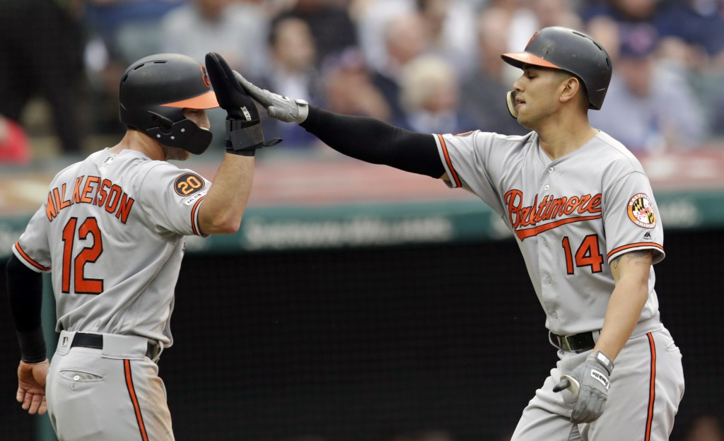Baltimore Orioles' Rio Ruiz, right, is congratulated by Stevie Wilkerson after Ruiz hit a two run home run in the second inning of a baseball game aga