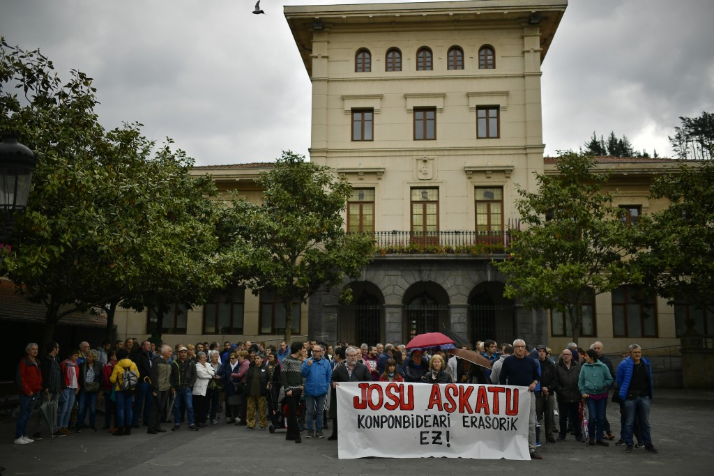 People protest during a gathering in support of Basque separatist militant Josu Ternera in his home town of Ugao-Miraballes, Spain, Thursday, May 16,