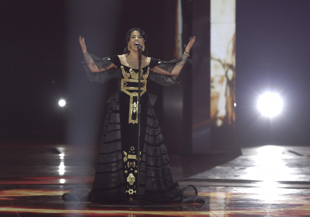 Jonida Maliqi of Albania performs during the 2019 Eurovision Song Contest second semi-final in Tel Aviv, Israel, Thursday, May 16, 2019. (AP Photo/Seb