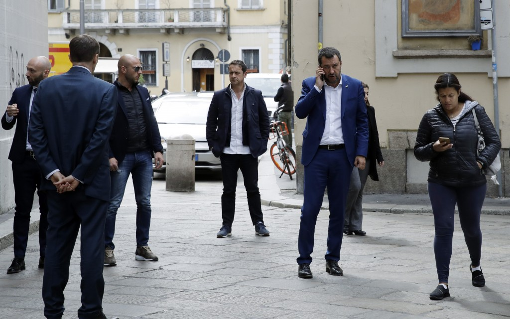 Italian Interior Minister and Deputy-Premier, Matteo Salvini, arrives to attend a press conference at the foreign press association in Milan, Italy, F...