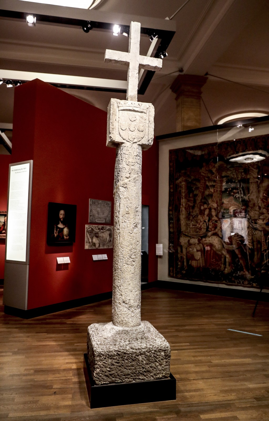 The Cape Cross column is pictured at the German Historical Museum in Berlin, Germany, Friday, May 17, 2019. The column was taken to Germany in 1893 wh