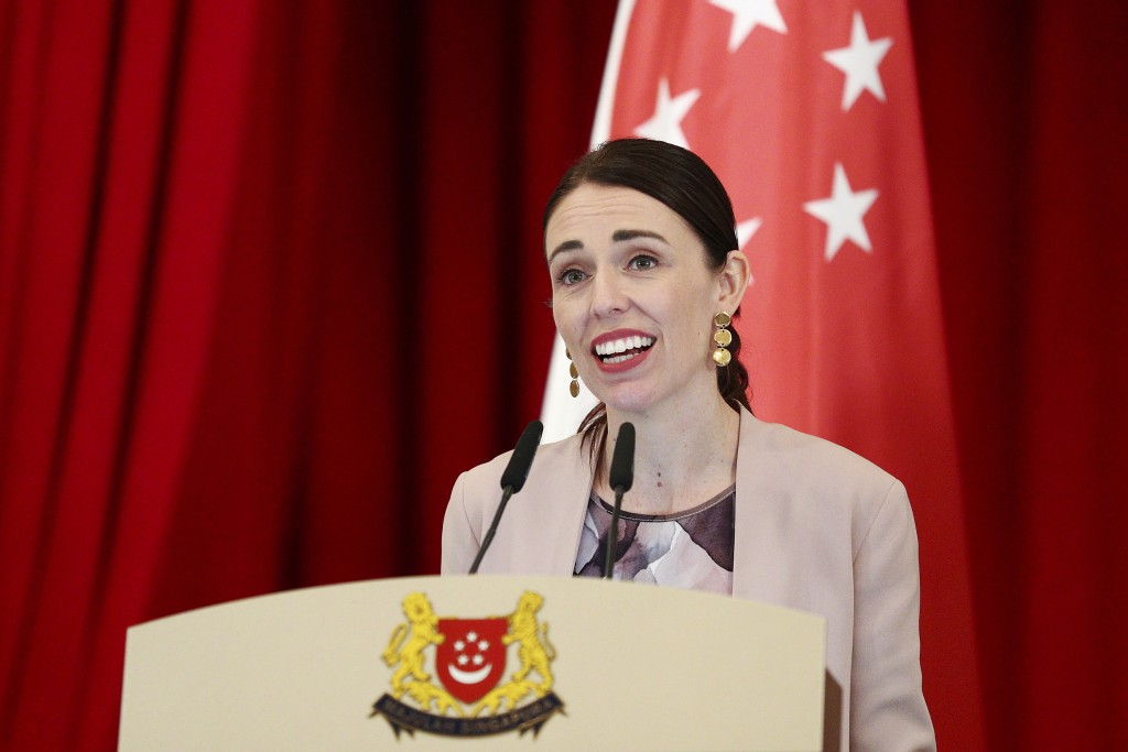 New Zealand's Prime Minister Jacinda Ardern speaks during a joint press conference at the Istana or presidential palace in Singapore, Friday, May 17,