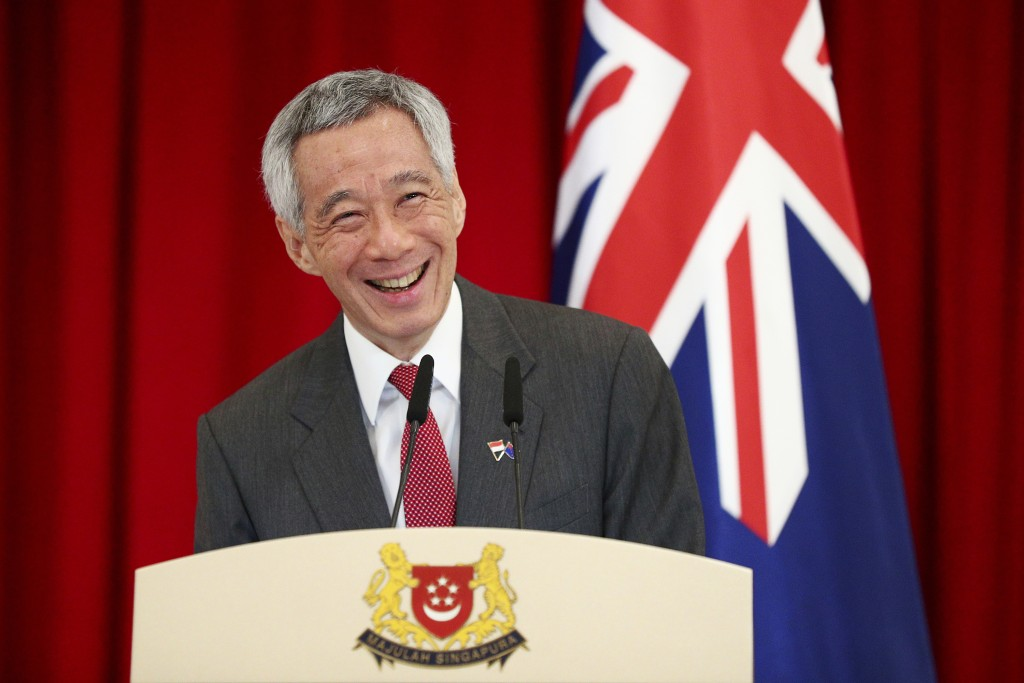 Singapore's Prime Minister Lee Hsien Loong speaks during a joint press conference with New Zealand's Prime Minister Jacinda Ardern at the Istana or pr