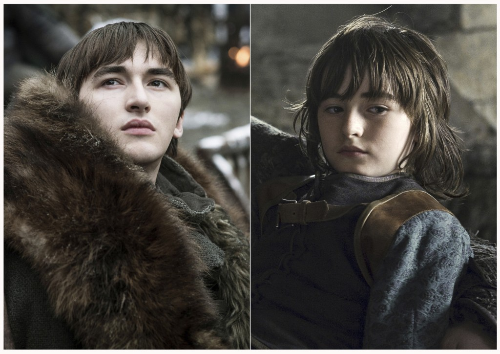 "This combination photo of images released by HBO shows Isaac Hempstead Wright portraying Bran Stark in ""Game of Thrones."" The final episode of the pop"