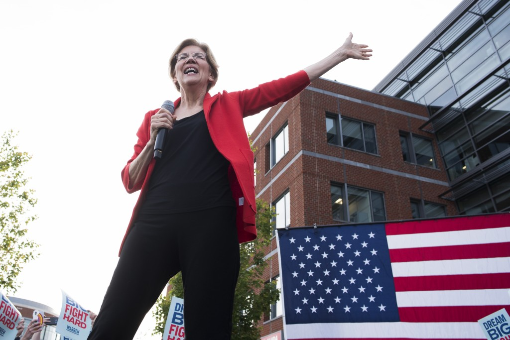 Democratic presidential candidate Sen. Elizabeth Warren, D-Mass., addresses a campaign rally at George Mason University in Fairfax, Va., Thursday, May