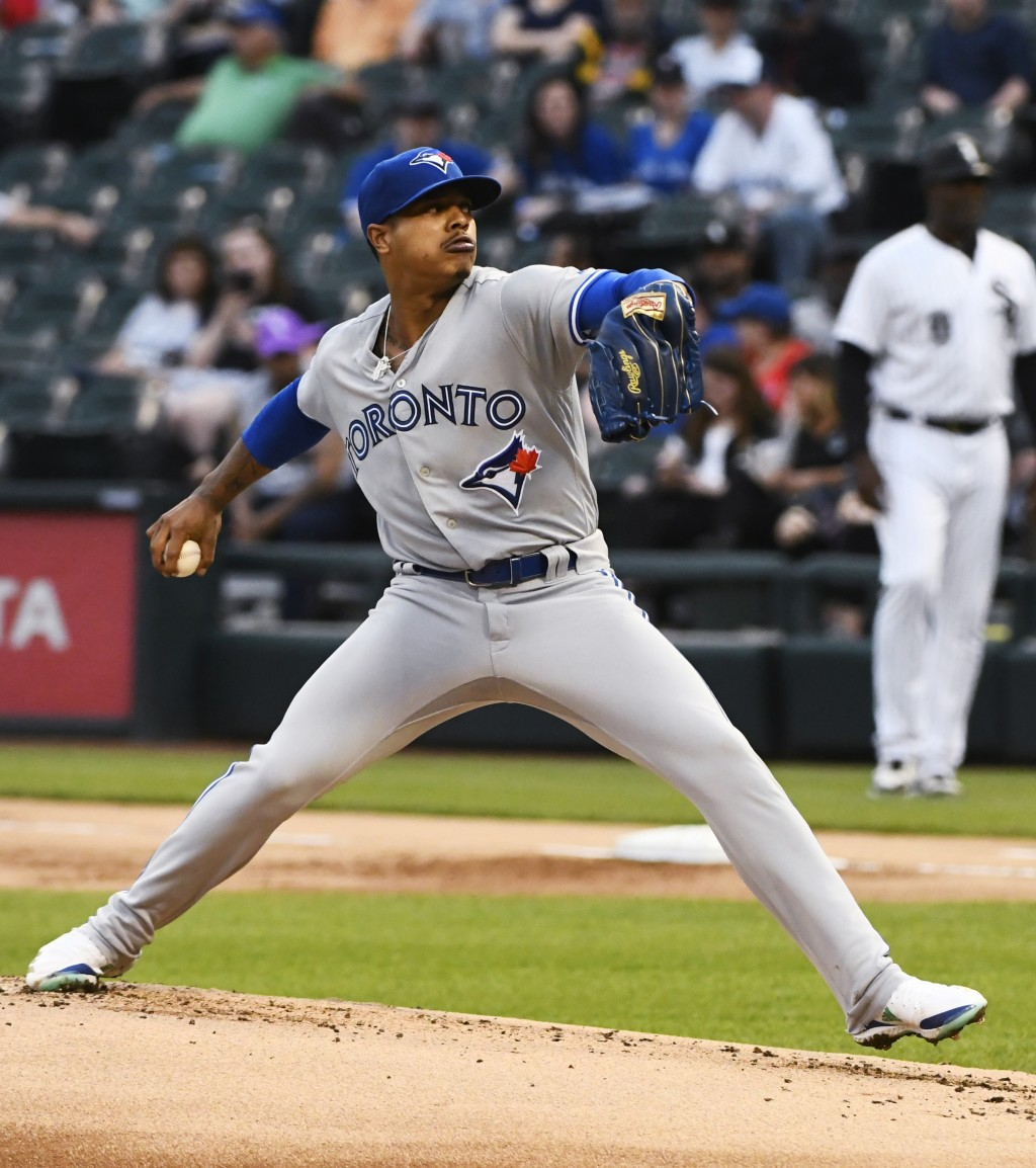Toronto Blue Jays starting pitcher Marcus Stroman delivers during the first inning of the team's baseball game against the Chicago White Sox on Thursd...
