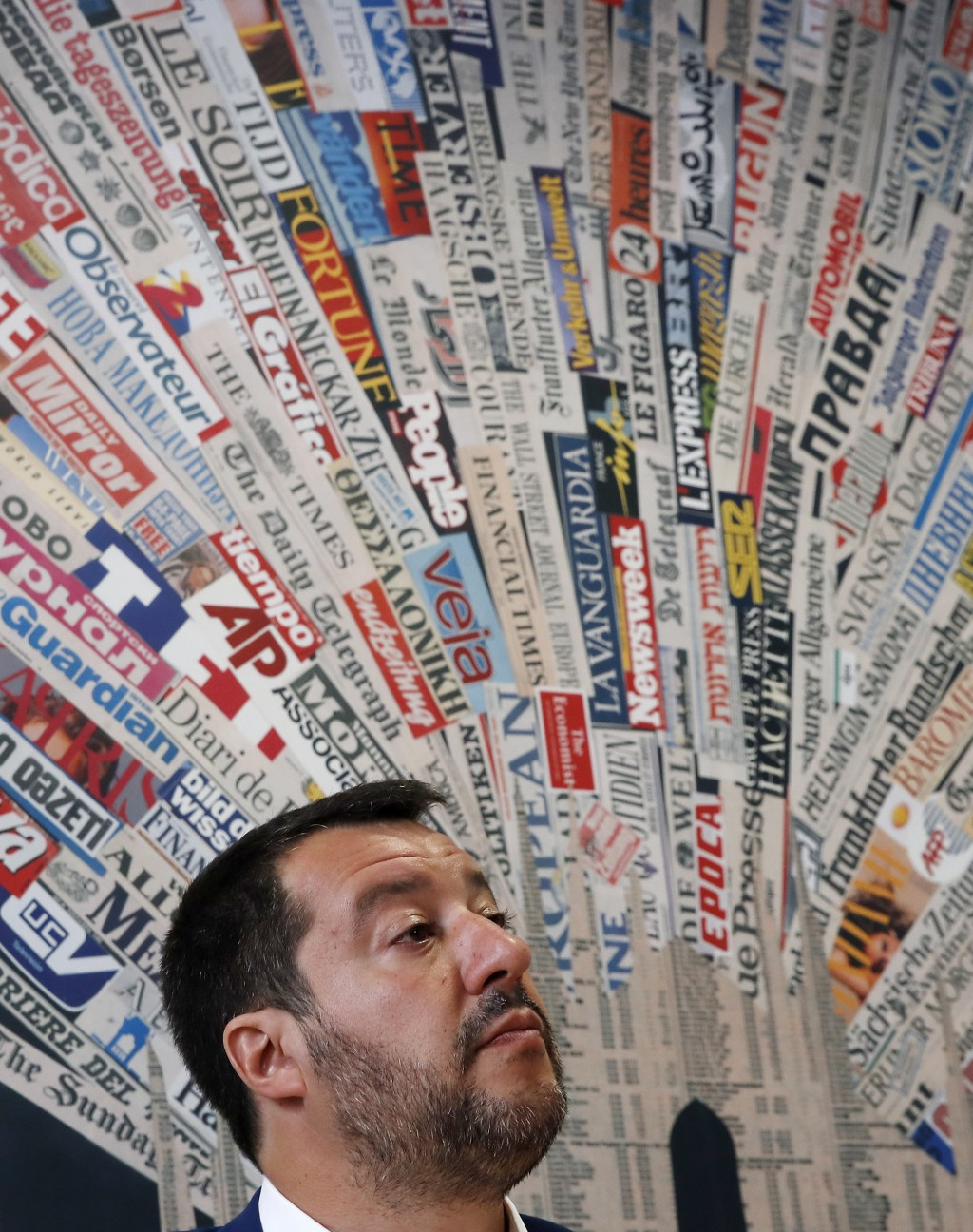Italian Interior Minister and Deputy-Premier, Matteo Salvini, attends a press conference at the foreign press association in Milan, Italy, Friday, May