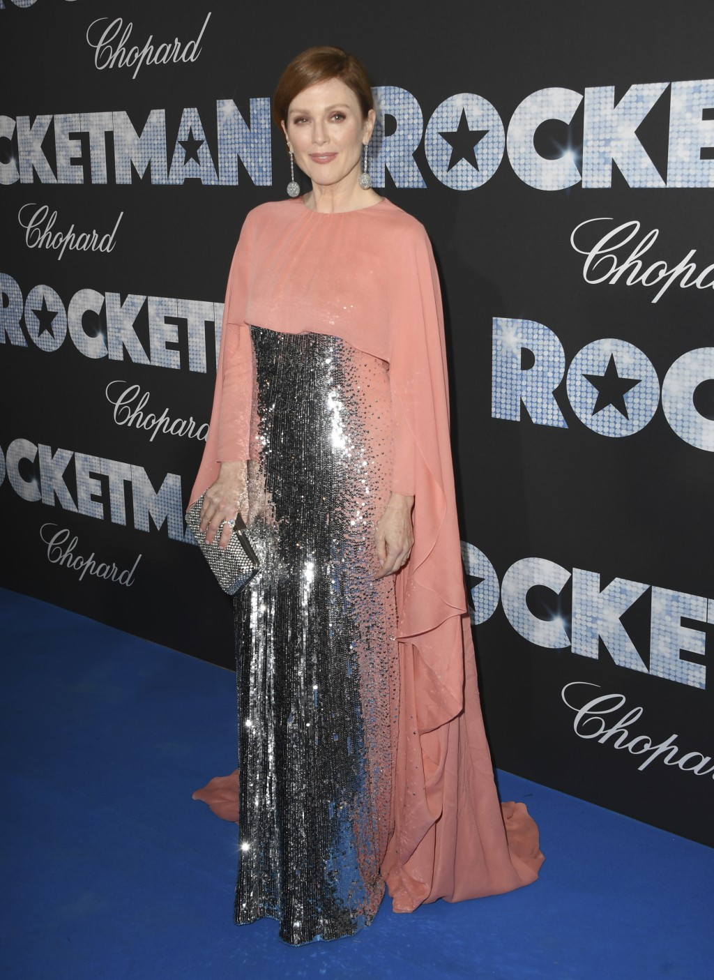 Actress Julianne Moore poses for photographers upon arrival at the party for the film Rocketman at the 72nd international film festival, Cannes, south