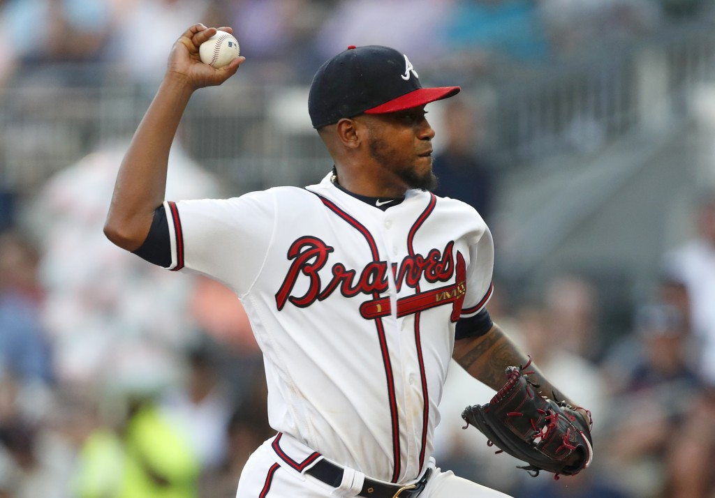 Atlanta Braves starting pitcher Julio Teheran (49) works against the St. Louis Cardinals in the first inning of a baseball game Thursday, May 16, 2019