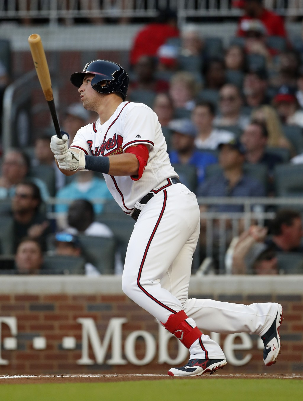 Atlanta Braves left fielder Austin Riley (27) follows through a double in the second inning of a baseball game against the St. Louis Cardinals Thursda
