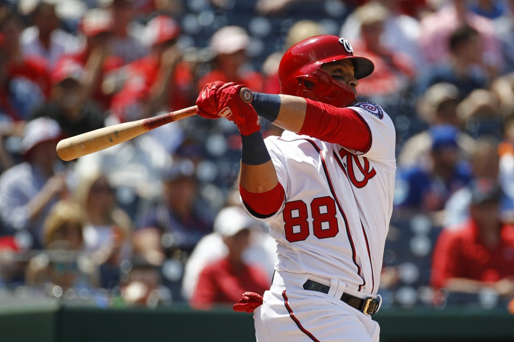 Washington Nationals' Gerardo Parra hits a two-run home run in the fifth inning of a baseball game against the New York Mets, Thursday, May 16, 2019,