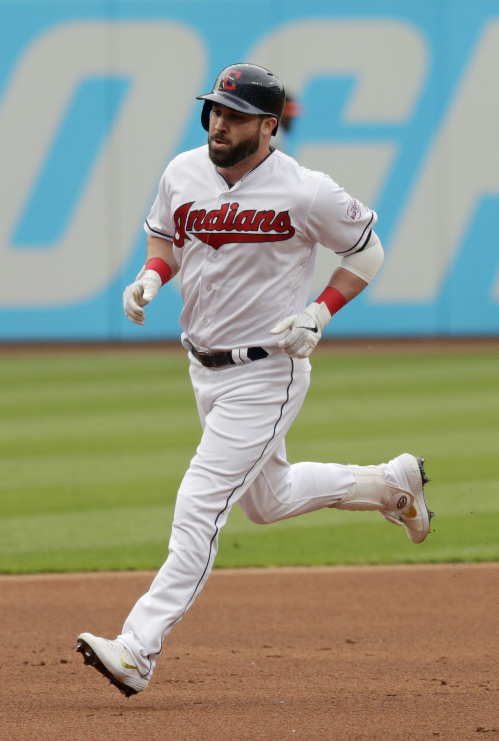 Cleveland Indians' Jason Kipnis runs the bases after hitting a solo home run off Baltimore Orioles starting pitcher Dan Straily in the first inning of