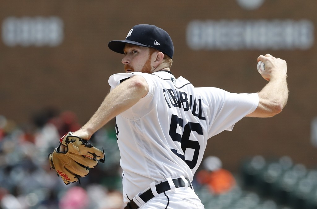 Detroit Tigers starting pitcher Spencer Turnbull throws during the first inning of a baseball game against the Oakland Athletics, Thursday, May 16, 20...