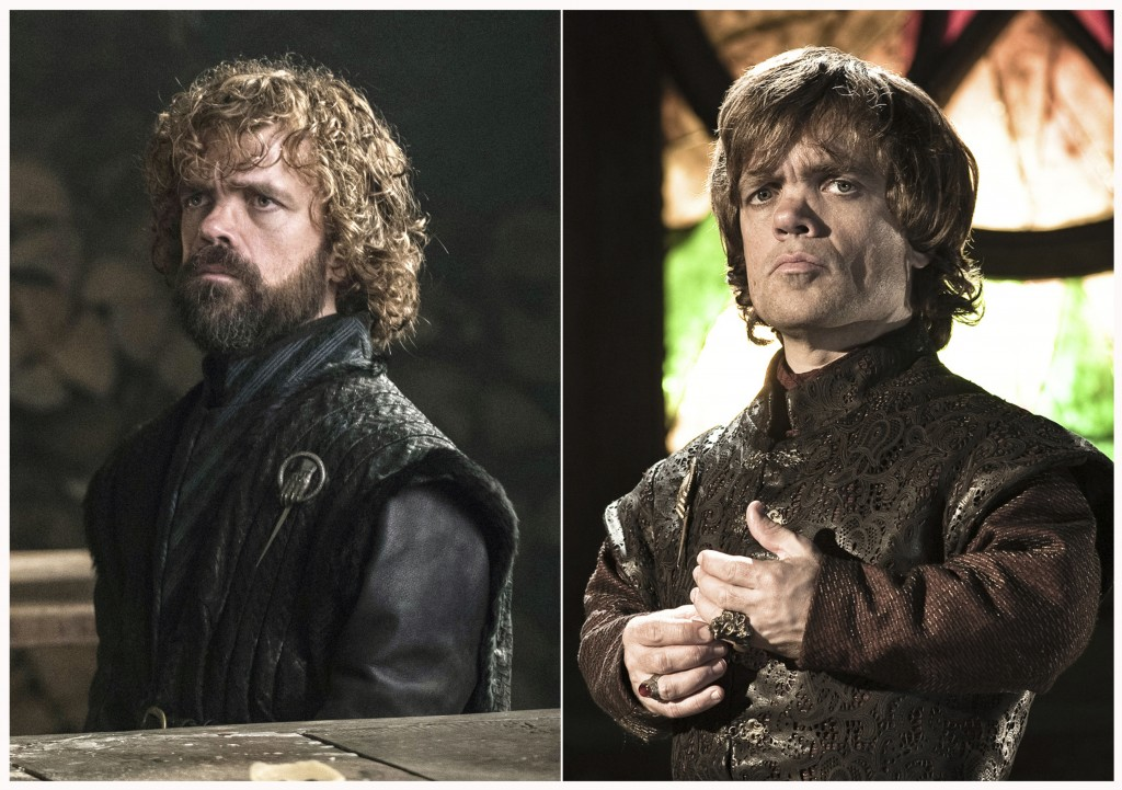 "This combination photo of images released by HBO shows Peter Dinklage portraying Tyrion Lannister in ""Game of Thrones."" The final episode of the popul"