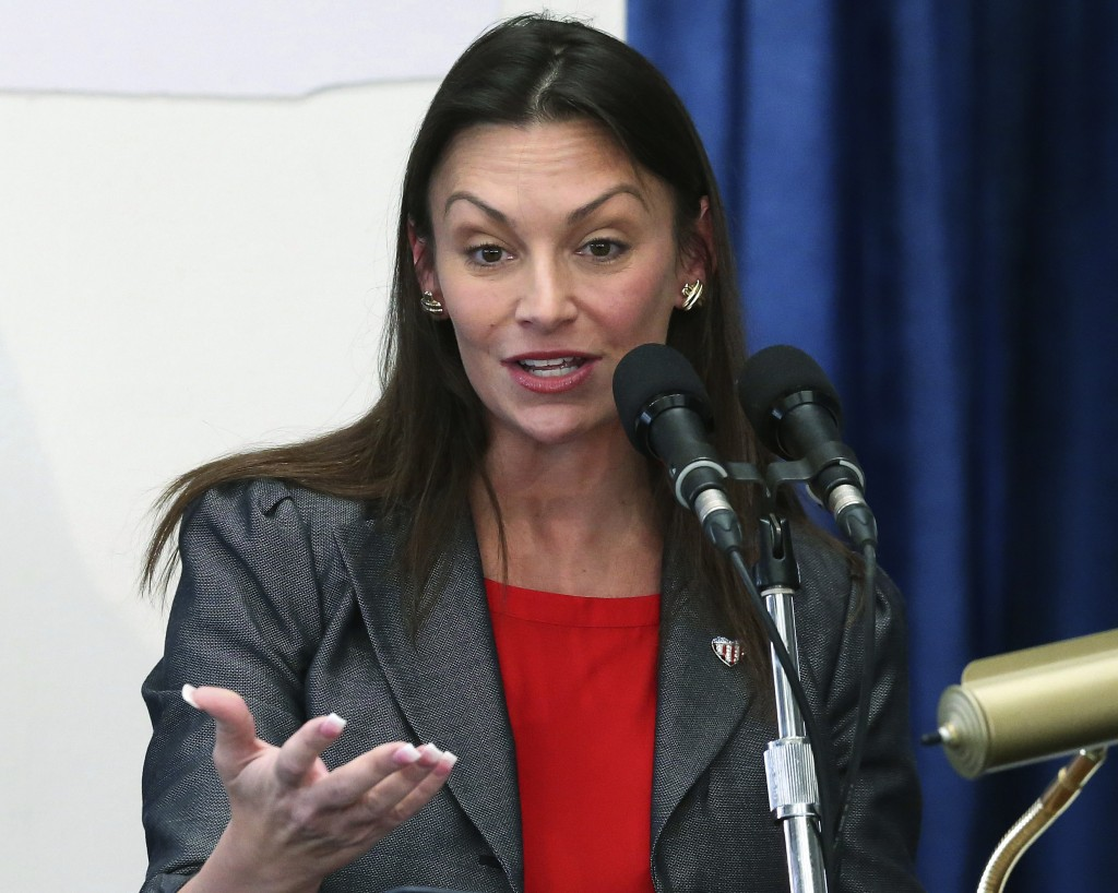 FILE - In this Jan. 30, 2019, file photo, Agriculture Commissioner Nikki Fried speaks at a pre-legislative news conference, in Tallahassee, Fla. While