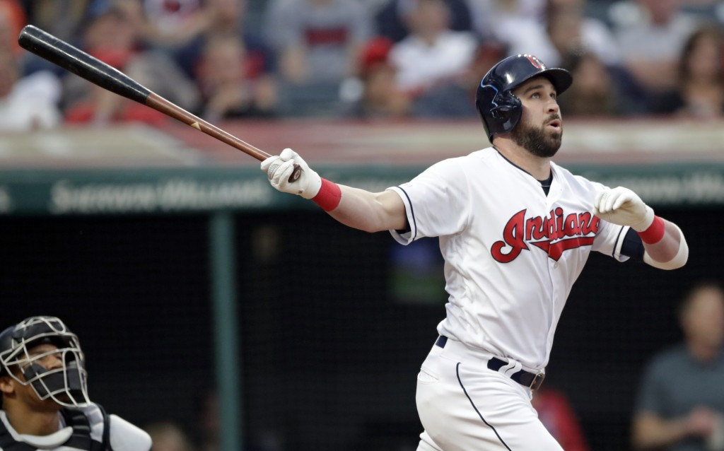 Cleveland Indians' Jason Kipnis watches his ball after hitting a three-run home run off Baltimore Orioles starting pitcher Gabriel Ynoa in the fourth