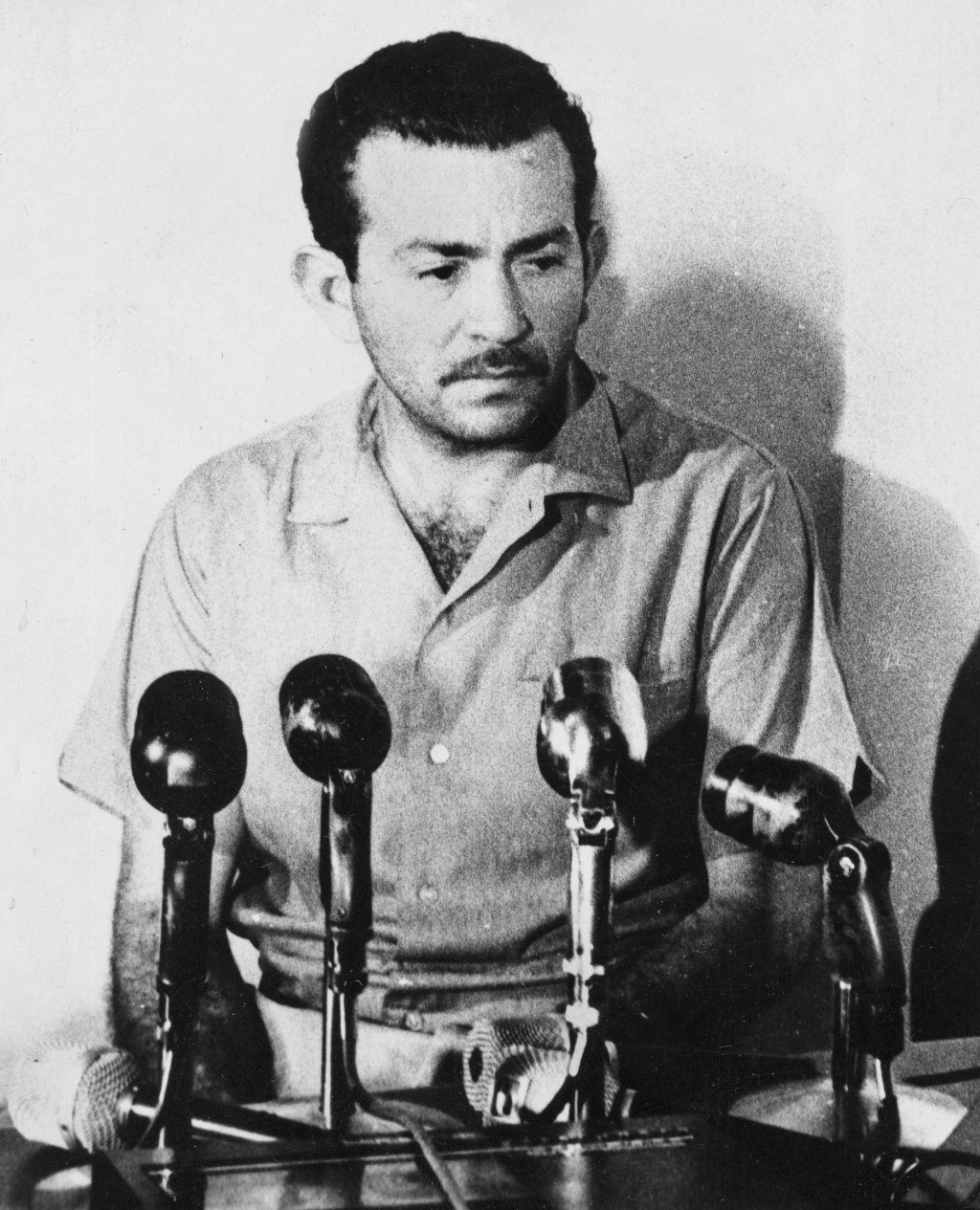 FILE - In this Aug. 26, 1967 file photo, Manuel Espinoza Diaz speaks at a news conference in Caracas, Venezuela, at which he confessed being a Cuban s