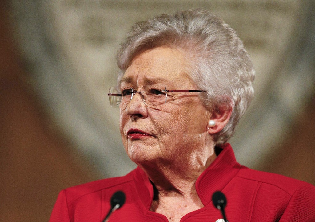 FILE- In this Jan. 9, 2018, file photo, Alabama Gov. Kay Ivey delivers the annual State of the State address at the Capitol in Montgomery, Ala. Ivey s