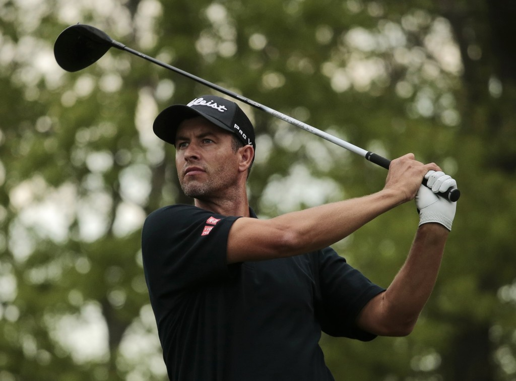Adam Scott of Australia drives off the 18th tee during the second round of the PGA Championship golf tournament, Friday, May 17, 2019, at Bethpage Bla...