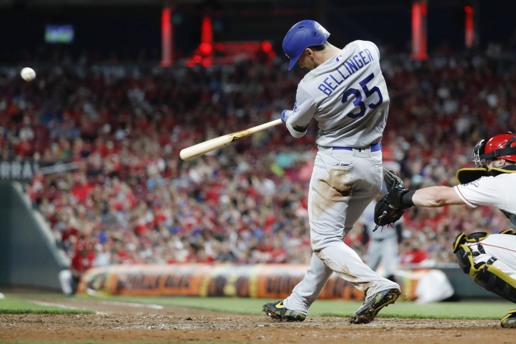Los Angeles Dodgers' Cody Bellinger hits a solo home run off Cincinnati Reds relief pitcher Zach Duke in the eighth inning of a baseball game, Friday,