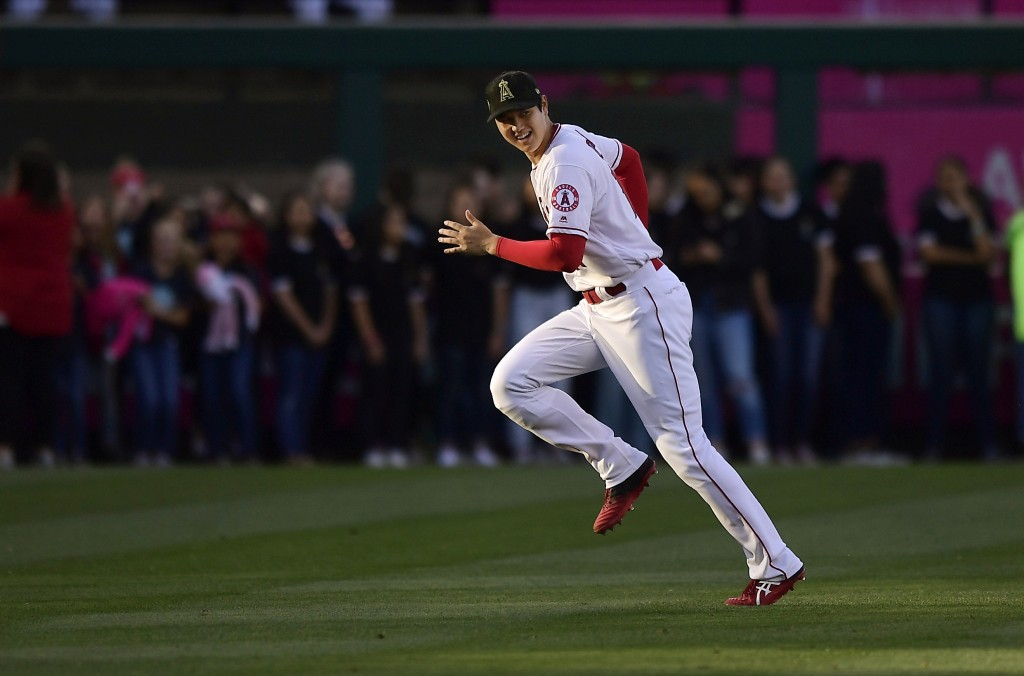 Los Angeles Angels' Shohei Ohtani, of Japan, warms up prior to the team's baseball game against the Kansas City Royals on Friday, May 17, 2019, in Ana