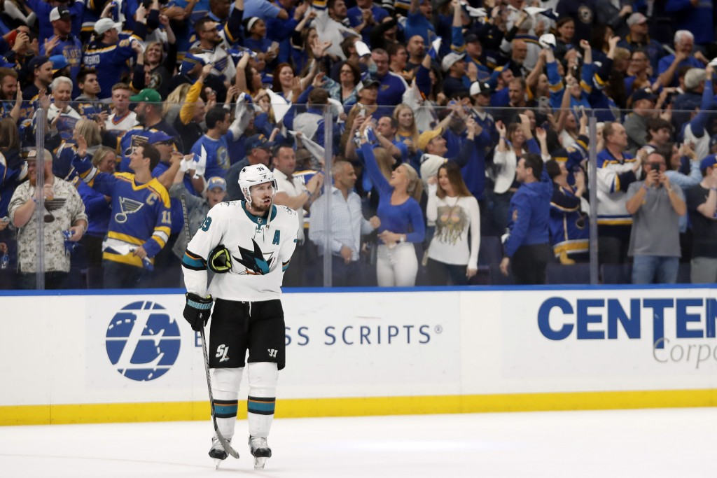 San Jose Sharks center Logan Couture skates off the ice after the St. Louis Blues won Game 4 of the NHL hockey Stanley Cup Western Conference final se